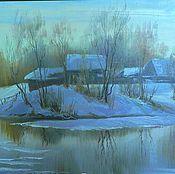 """Картины и панно ручной работы. Ярмарка Мастеров - ручная работа картина """"Зимняя речка"""". Handmade."""
