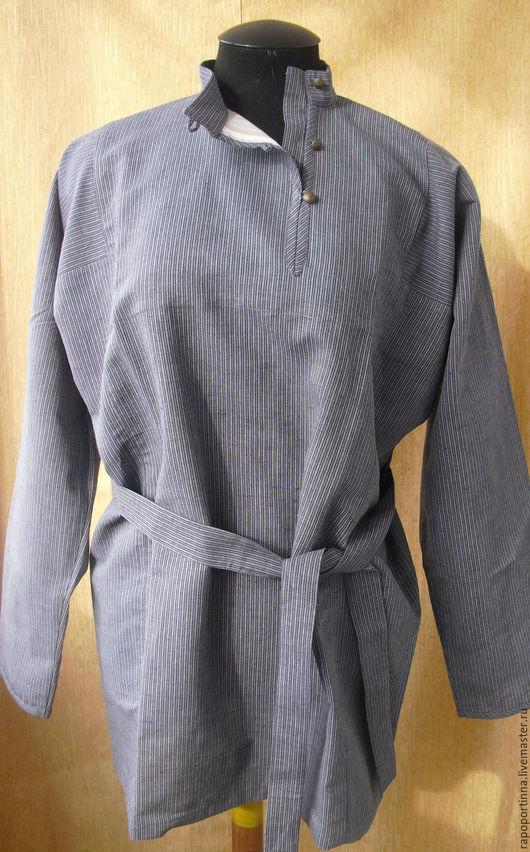 Одежда ручной работы. Ярмарка Мастеров - ручная работа. Купить Косоворотка льняная в полоску. Handmade. Серый, фольклорный костюм