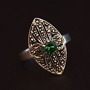 handmade. Livemaster - original item Vintage ring with marcasite and green crystal 925 silver. Handmade.