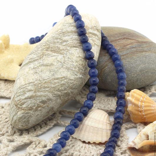 Для украшений ручной работы. Ярмарка Мастеров - ручная работа. Купить Агат синий бусины шар 4.5мм - арт.1-06. Handmade.