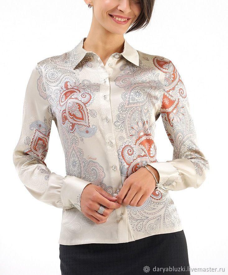 b4cd05c4432 Блузки ручной работы. Ярмарка Мастеров - ручная работа. Купить Рубашка  шелковая  Офисный стиль ...