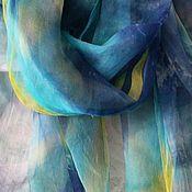 Аксессуары handmade. Livemaster - original item Scarf celadon,silk,175h110 cm,hand-painting. Handmade.