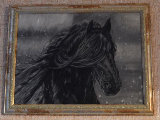 Животные ручной работы. Ярмарка Мастеров - ручная работа. Купить Конь Гризайль. Handmade. Серый, лошадь, масляная живопись, подарок