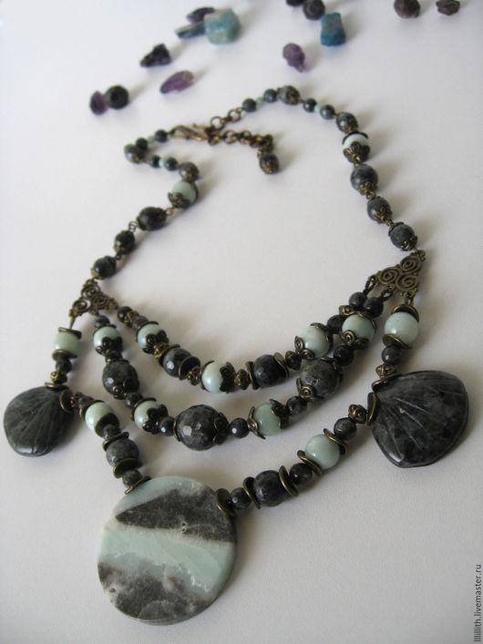 Колье, бусы ручной работы. Ярмарка Мастеров - ручная работа. Купить Крупное ожерелье из амазонита и ларвикита. Handmade. Черный, бирюзовый