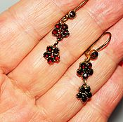 Винтаж handmade. Livemaster - original item Vintage earrings red brass Bohemian garnets pyrope, 1920s. Handmade.