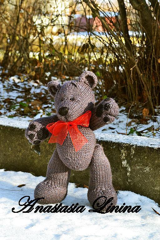 """Мишки Тедди ручной работы. Ярмарка Мастеров - ручная работа. Купить Вязаный мишка """"Серый"""". Handmade. Оригинальный подарок"""