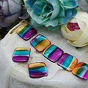 Бусины ручной работы. Ярмарка Мастеров - ручная работа Бусины стеклянные «Акварель» 2х2 см (5 шт) – разные цвета. Handmade.