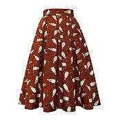 Одежда ручной работы. Ярмарка Мастеров - ручная работа Юбка Wild West 60 см с карманами (терракот). Handmade.