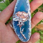 Украшения ручной работы. Ярмарка Мастеров - ручная работа Кулон из голубого агата с розой. Handmade.