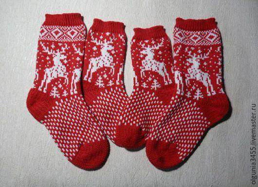 Носки, Чулки ручной работы. Ярмарка Мастеров - ручная работа. Купить Носочки для мамы и дочки(сыночка). Handmade. Ярко-красный, носки