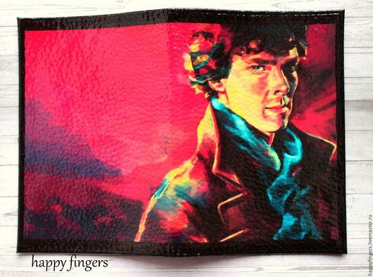 """Обложки ручной работы. Ярмарка Мастеров - ручная работа. Купить Кожаная обложка на паспорт """"Шерлок"""", Sherlock шерлок холмс. Handmade."""