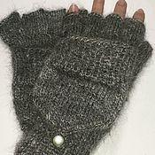 Аксессуары handmade. Livemaster - original item Transformers downy grey mittens, S. Handmade.