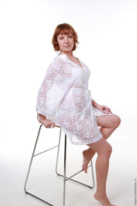 """Халаты ручной работы. Ярмарка Мастеров - ручная работа. Купить Кружевной халатик """"Утро невесты"""". Handmade. Белый, пеньюар, кимоно"""