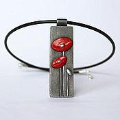 Украшения handmade. Livemaster - original item Pendant With red flowers 2. Handmade.