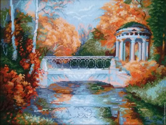 Пейзаж ручной работы. Ярмарка Мастеров - ручная работа. Купить Осенний парк. Вышитая картина.. Handmade. Беседка, мостик, мулине