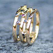 Rings handmade. Livemaster - original item Wide Gold Ring with Rubies, Emeralds, Saphires. Handmade.
