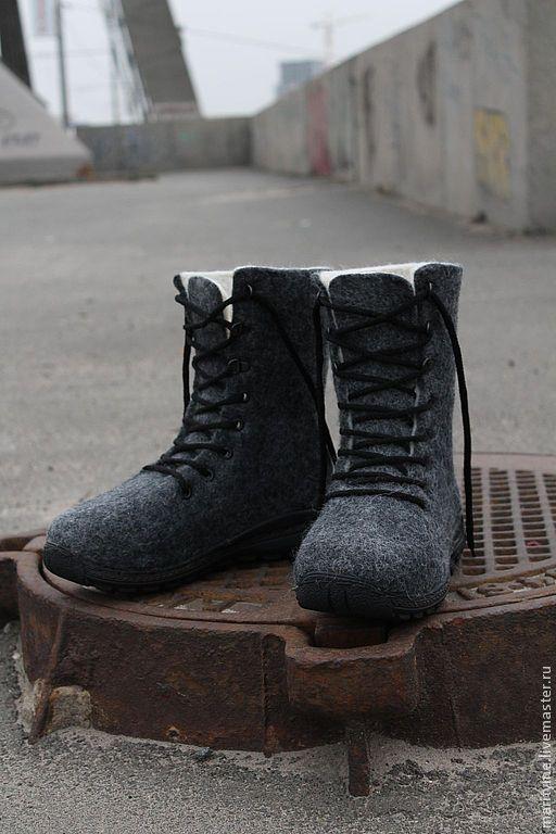 """Обувь ручной работы. Ярмарка Мастеров - ручная работа. Купить Войлочные ботинки """"Мегаполис"""". Handmade. Темно-серый, натуральная шерсть"""