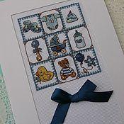 Открытки ручной работы. Ярмарка Мастеров - ручная работа открытки для новорожденных. Handmade.