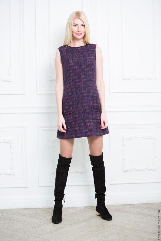 """Платья ручной работы. Ярмарка Мастеров - ручная работа. Купить Платье из твида """"Chanel"""" фиолетовое. Handmade. Твидовый костюм"""