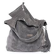Сумки и аксессуары handmade. Livemaster - original item Bag grey suede big bag shopping Bag shopper Bag t-shirt. Handmade.