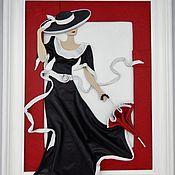 Картины ручной работы. Ярмарка Мастеров - ручная работа Картина из кожи Дама с зонтиком. Объемная картина из кожи. Handmade.