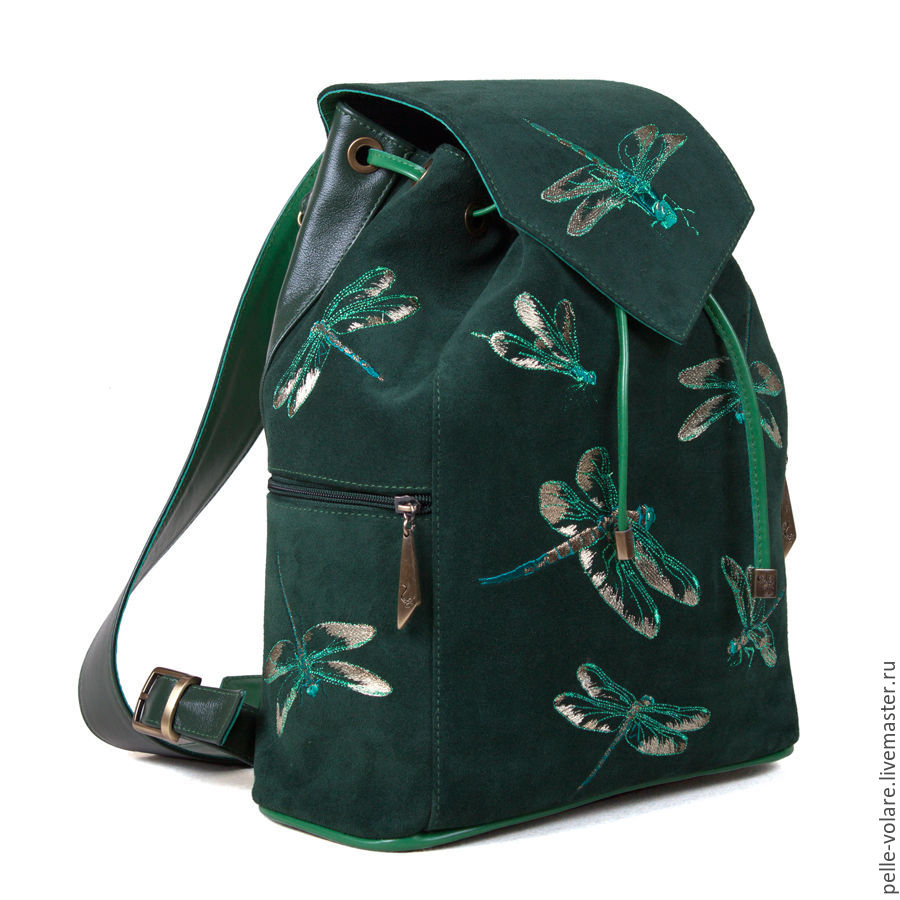 f7857bc93f Online Backpacks handmade. Order Women s suede backpack with embroidered   Dragonfly . Pelle Volare.