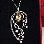 Украшения handmade. Livemaster - original item Silver pendant with Golden citrine, elegant silver jewelry. Handmade.