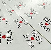 Материалы для творчества ручной работы. Ярмарка Мастеров - ручная работа Наклейки WIth Love / 8 шт. Handmade.