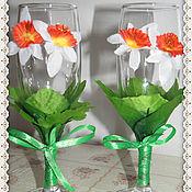 Свадебный салон ручной работы. Ярмарка Мастеров - ручная работа Бокалы свадебные Нарциссы. Handmade.