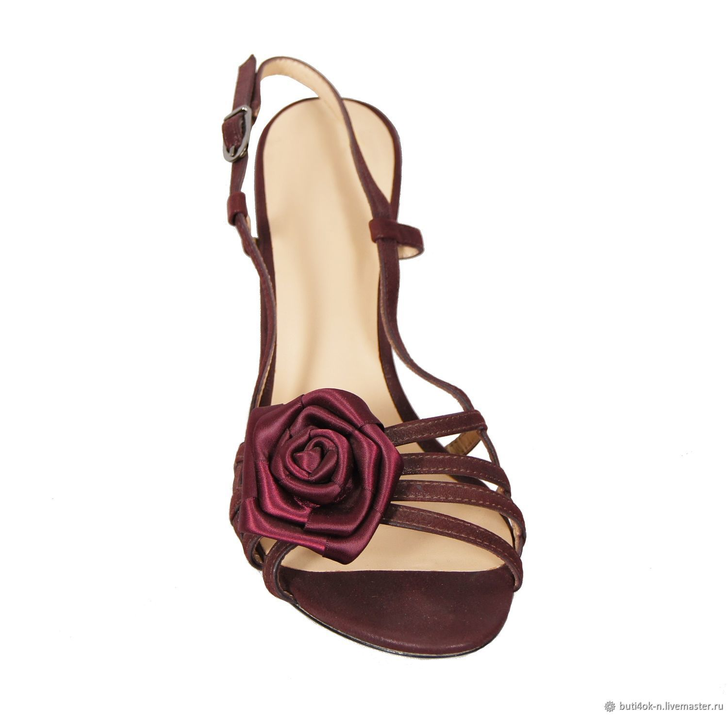673f5c0768d Burgundy sandals made of genuine leather, decorated with satin rose – shop  online on Livemaster with shipping - FP8L1COM | Nelidovo
