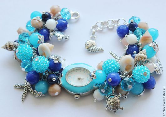 """Часы ручной работы. Ярмарка Мастеров - ручная работа. Купить Часы """"Морские обитатели"""". Handmade. Голубой, морской, часы"""