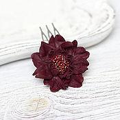 Свадебный салон ручной работы. Ярмарка Мастеров - ручная работа Заколка-гребень цветок из бордовой кожи. Handmade.