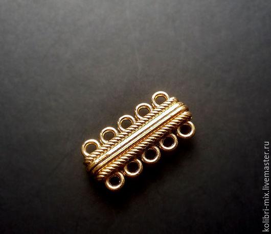 Для украшений ручной работы. Ярмарка Мастеров - ручная работа. Купить замок магнитный на 5 линий позолота. Handmade. Золотой