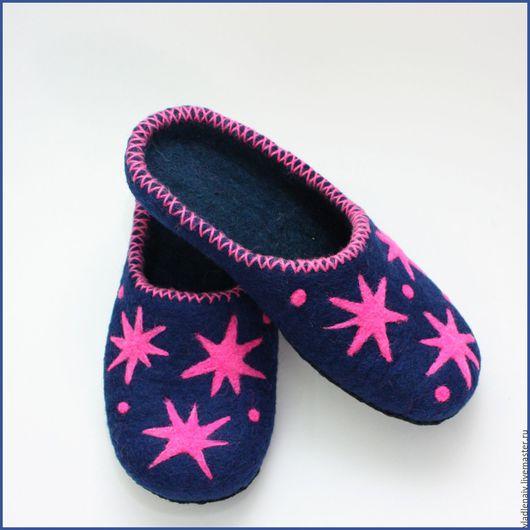 """Обувь ручной работы. Ярмарка Мастеров - ручная работа. Купить Тапочки """"Звёздные"""". Handmade. Домашние тапочки"""