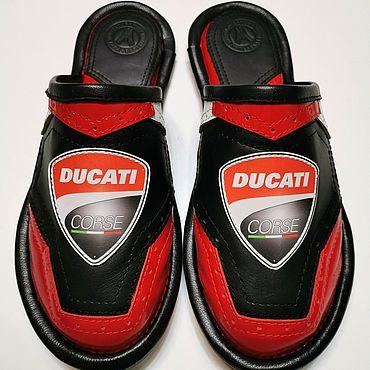 Обувь ручной работы. Ярмарка Мастеров - ручная работа Тапочки: Для фанатов знаменитого брэнда: Ducati. Handmade.