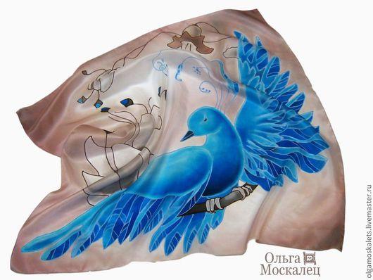 """Шали, палантины ручной работы. Ярмарка Мастеров - ручная работа. Купить Батик платок """"Синяя птица счастья"""". Handmade."""