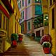 Город ручной работы. Ярмарка Мастеров - ручная работа. Купить Картина маслом Портофино, Италия. Handmade. Желтый, италия