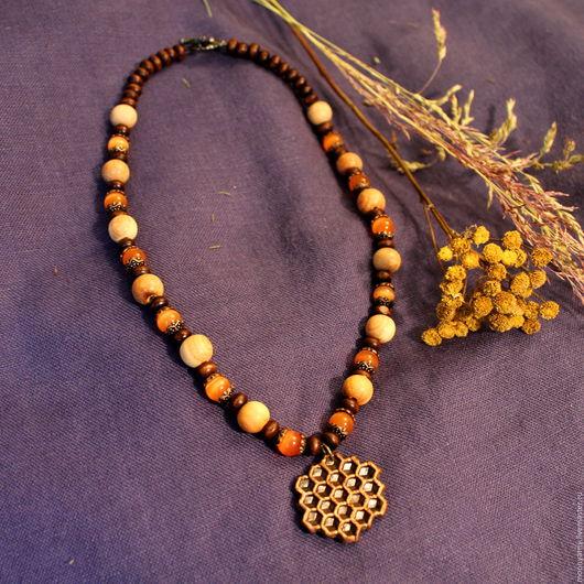 """Колье, бусы ручной работы. Ярмарка Мастеров - ручная работа. Купить Ожерелье """"Соты"""". Handmade. Оранжевый, кошачий глаз, медь"""