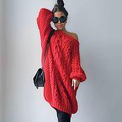 Одежда handmade. Livemaster - original item Red sweater dress. Handmade.