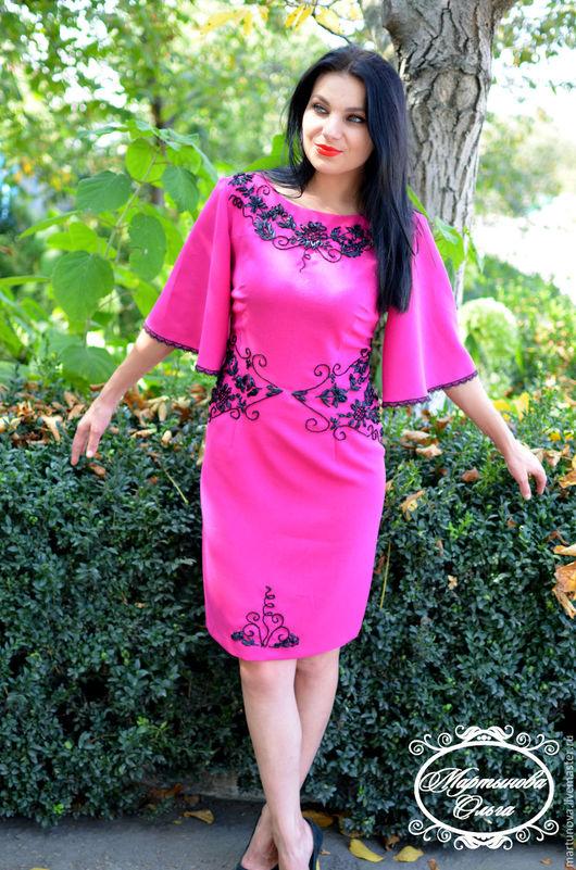 Платья ручной работы. Ярмарка Мастеров - ручная работа. Купить вышивка лентами. Handmade. Платье нарядное, платье коктейльное, фуксия