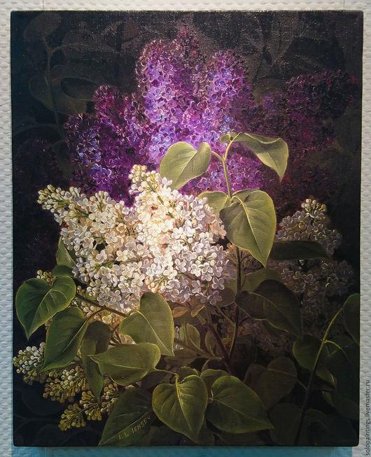 """Картины цветов ручной работы. Ярмарка Мастеров - ручная работа. Купить """"Букет сирени"""" Йохан Лоренц Йенсен. Handmade. Белый"""