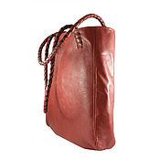 Сумки и аксессуары ручной работы. Ярмарка Мастеров - ручная работа Большая объемная сумка из натуральной кожи рыже-коричневого цвета. Handmade.