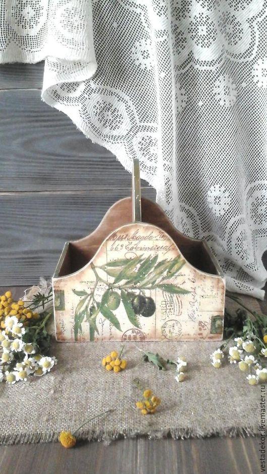 Корзины, коробы ручной работы. Ярмарка Мастеров - ручная работа. Купить Короб для специй Оливковый Прованс в стиле кантри.. Handmade.