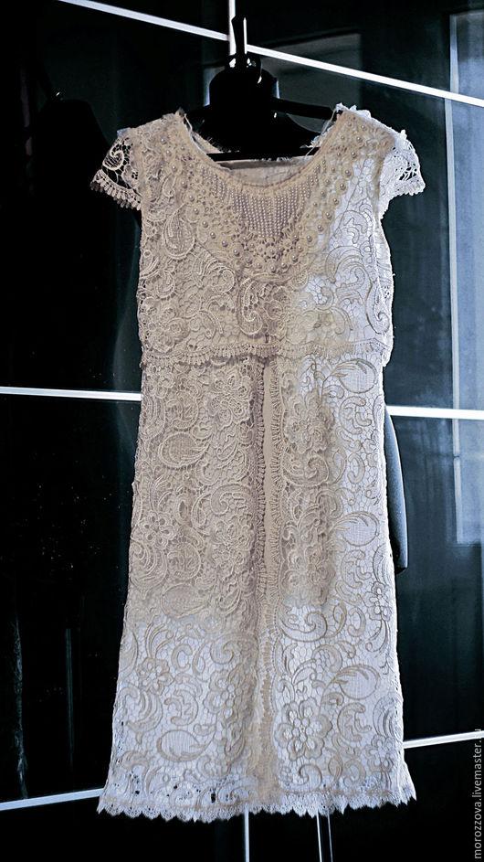 Одежда и аксессуары ручной работы. Ярмарка Мастеров - ручная работа. Купить Короткое свадебное платье цвета слоновой кости. Handmade.