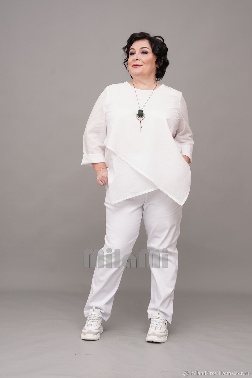 White cambric blouse with double front, with ribbon trim. Art.4292, Blouses, Kirov,  Фото №1