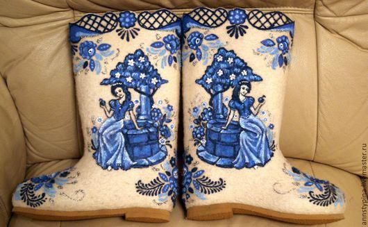 Обувь ручной работы. Ярмарка Мастеров - ручная работа. Купить девушка  у колодца. Handmade. Белый, валенки, дизайнерские валенки, шерсть