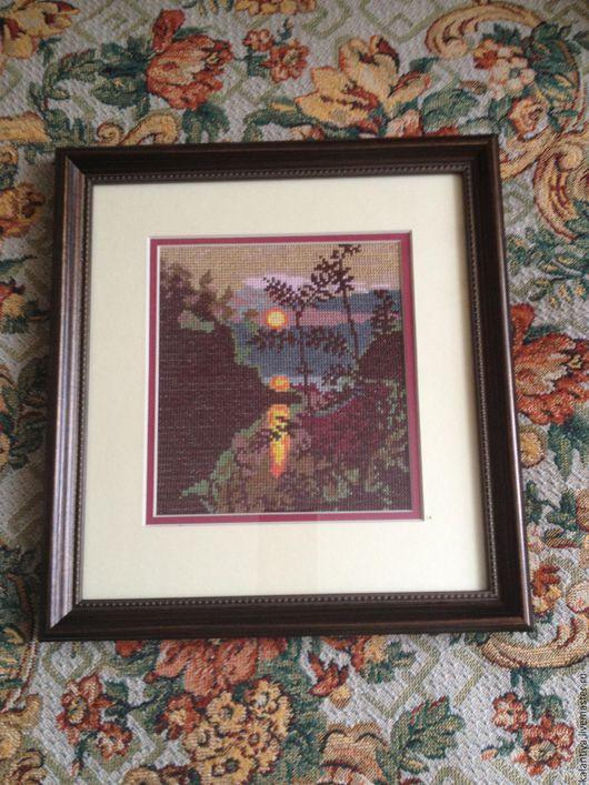 """Пейзаж ручной работы. Ярмарка Мастеров - ручная работа. Купить Картина вышитая крестом """"Вечер"""". Handmade. Разноцветный, Праздник"""