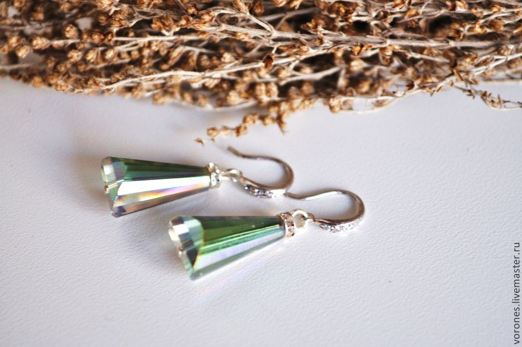 Earrings with crystals - emerald, Earrings, Moscow,  Фото №1