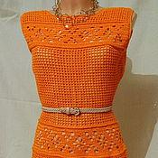 """Одежда ручной работы. Ярмарка Мастеров - ручная работа платье вязаное крючком """"Апельсиновый фреш"""", размер 44-46. Handmade."""