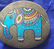 Сувениры и подарки ручной работы. Ярмарка Мастеров - ручная работа Роспись по камню Индийский Слон. Handmade.